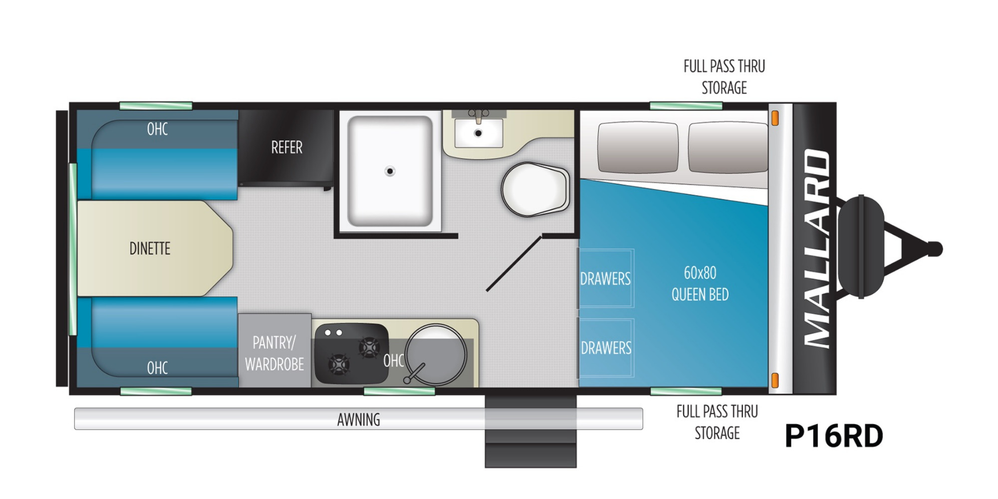 View Floor Plan for 2021 HEARTLAND MALLARD PATHFINDER P16SRD