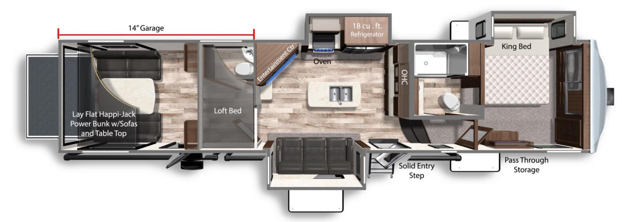 View Floor Plan for 2021 DUTCHMEN VOLTAGE 3845