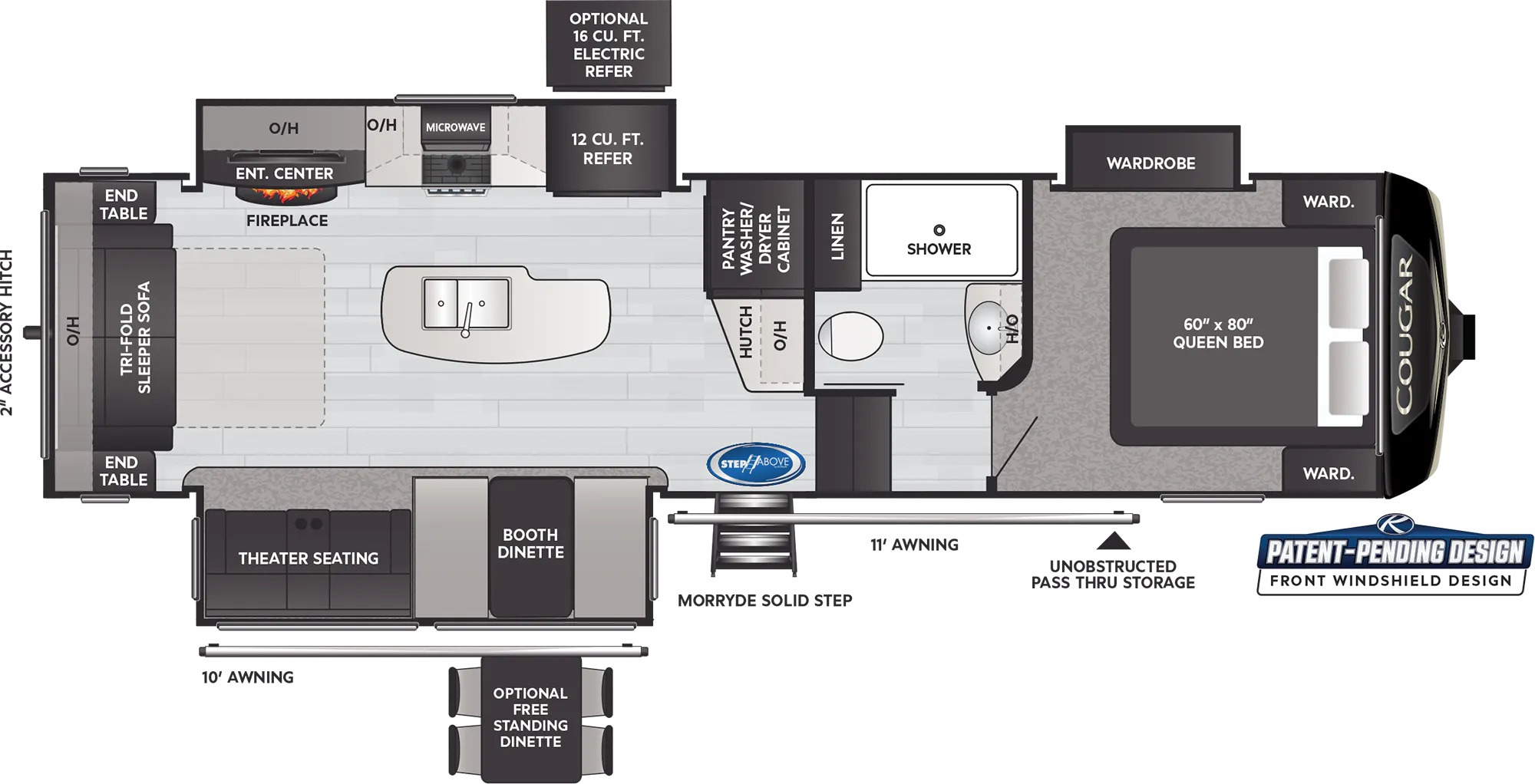 View Floor Plan for 2022 KEYSTONE COUGAR 290RLS