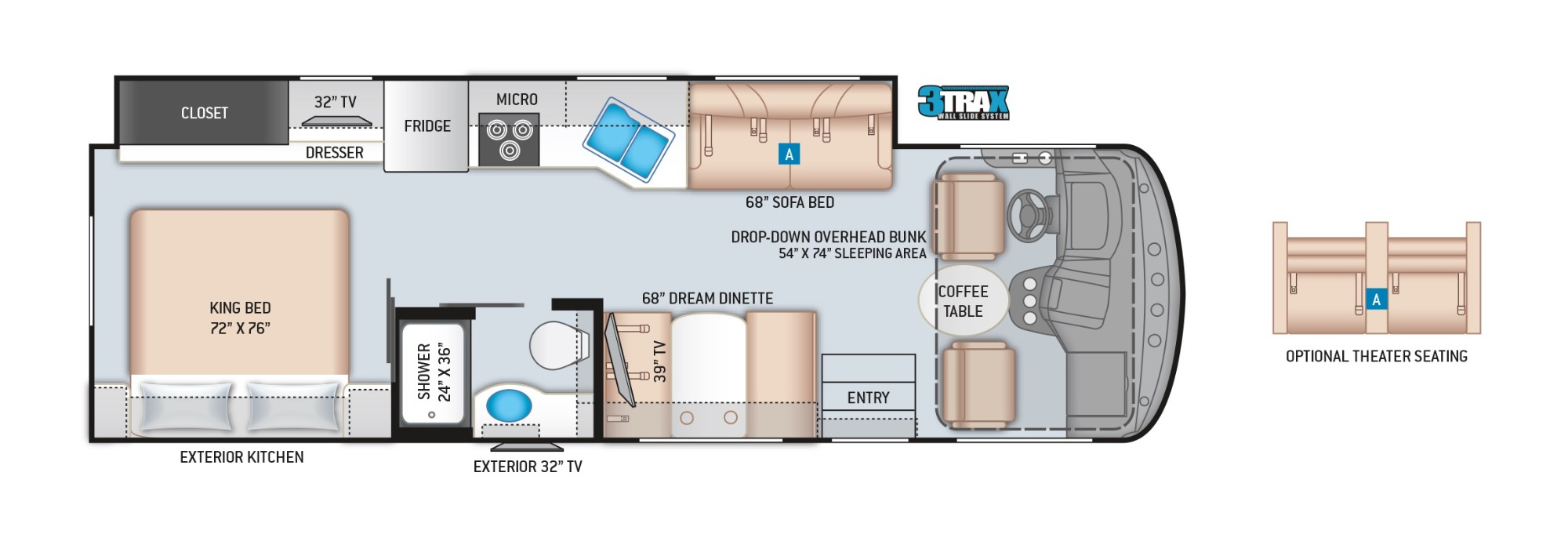 View Floor Plan for 2022 THOR WINDSPORT 29M