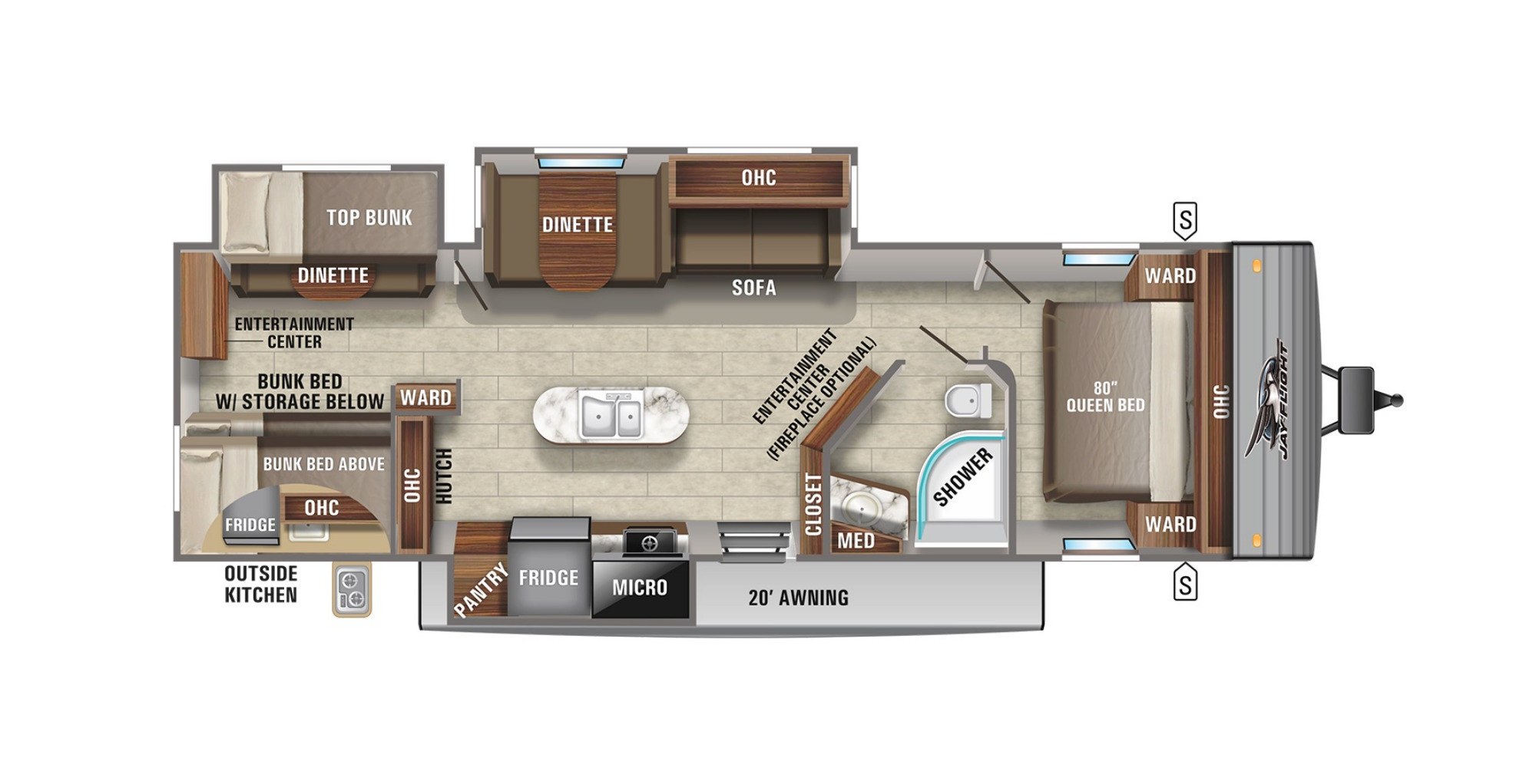 View Floor Plan for 2022 JAYCO JAY FLIGHT 33RBTS
