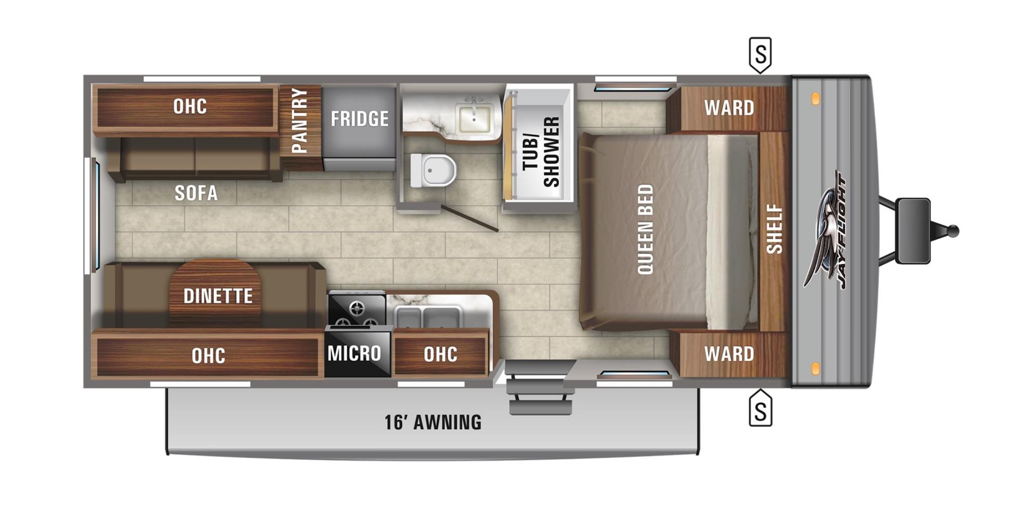 View Floor Plan for 2022 JAYCO JAY FLIGHT SLX 212QB