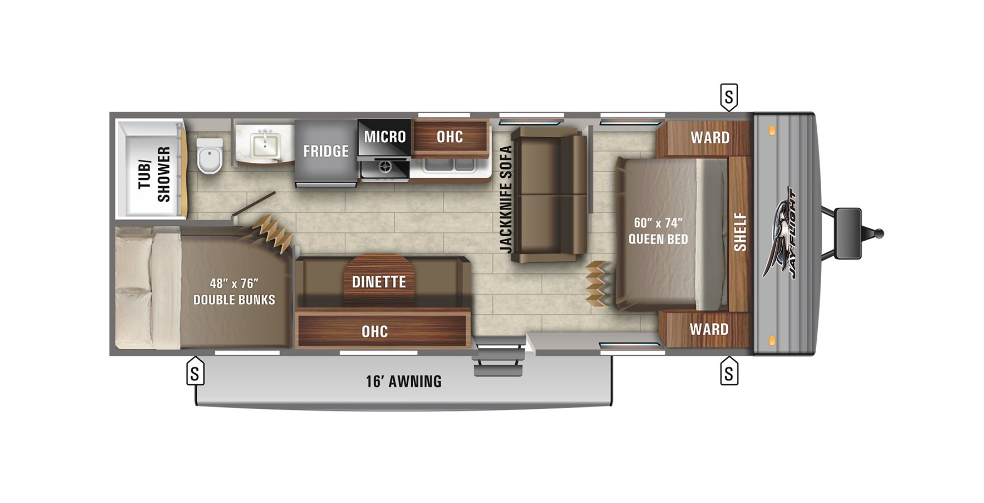View Floor Plan for 2022 JAYCO JAY FLIGHT SLX 264BH