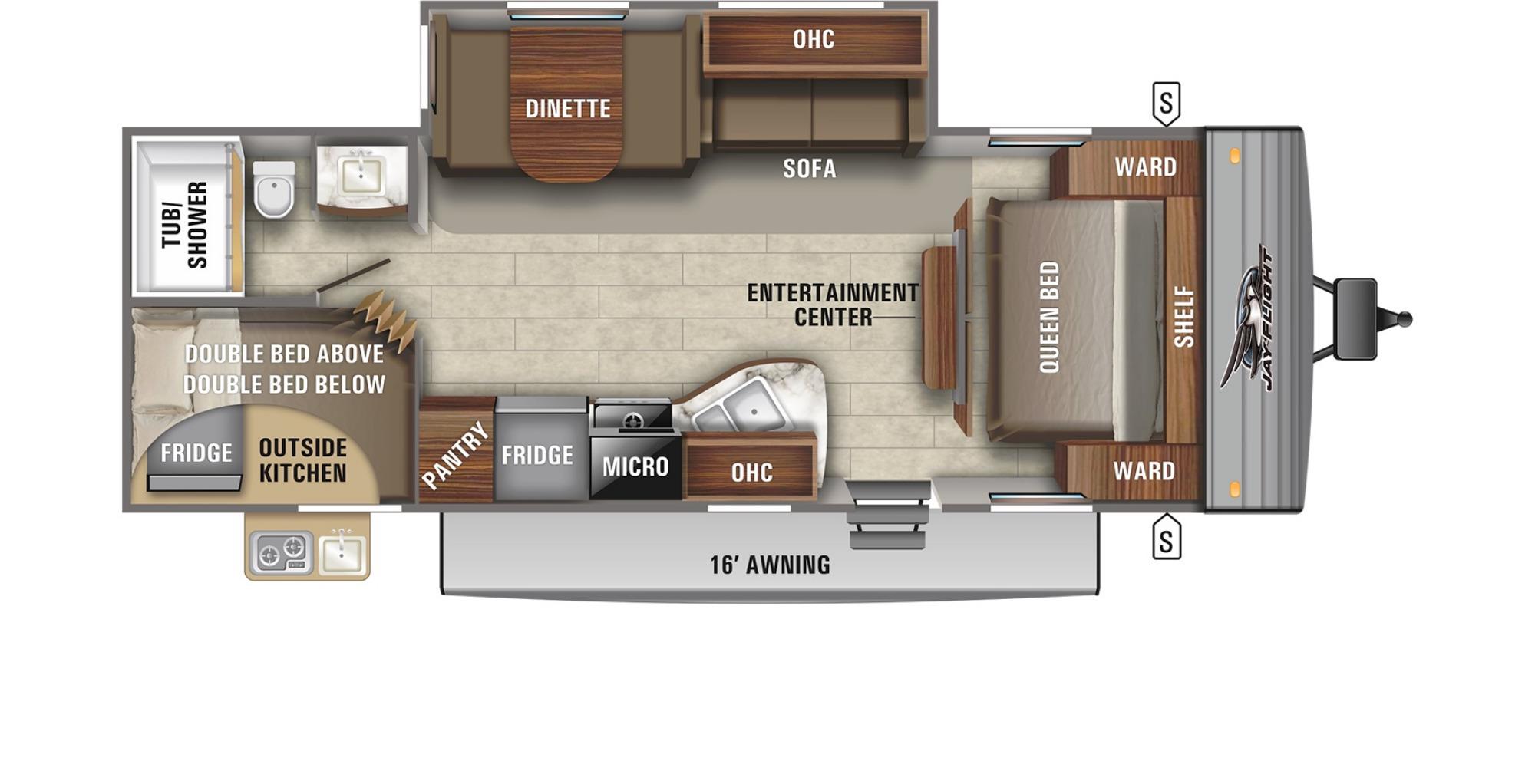 View Floor Plan for 2022 JAYCO JAY FLIGHT SLX 267BHS