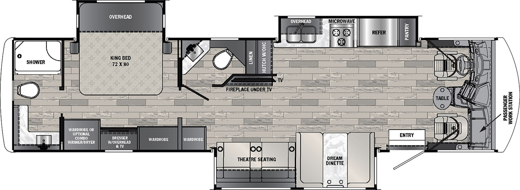 View Floor Plan for 2022 FOREST RIVER GEORGETOWN 5 SERIES 34H