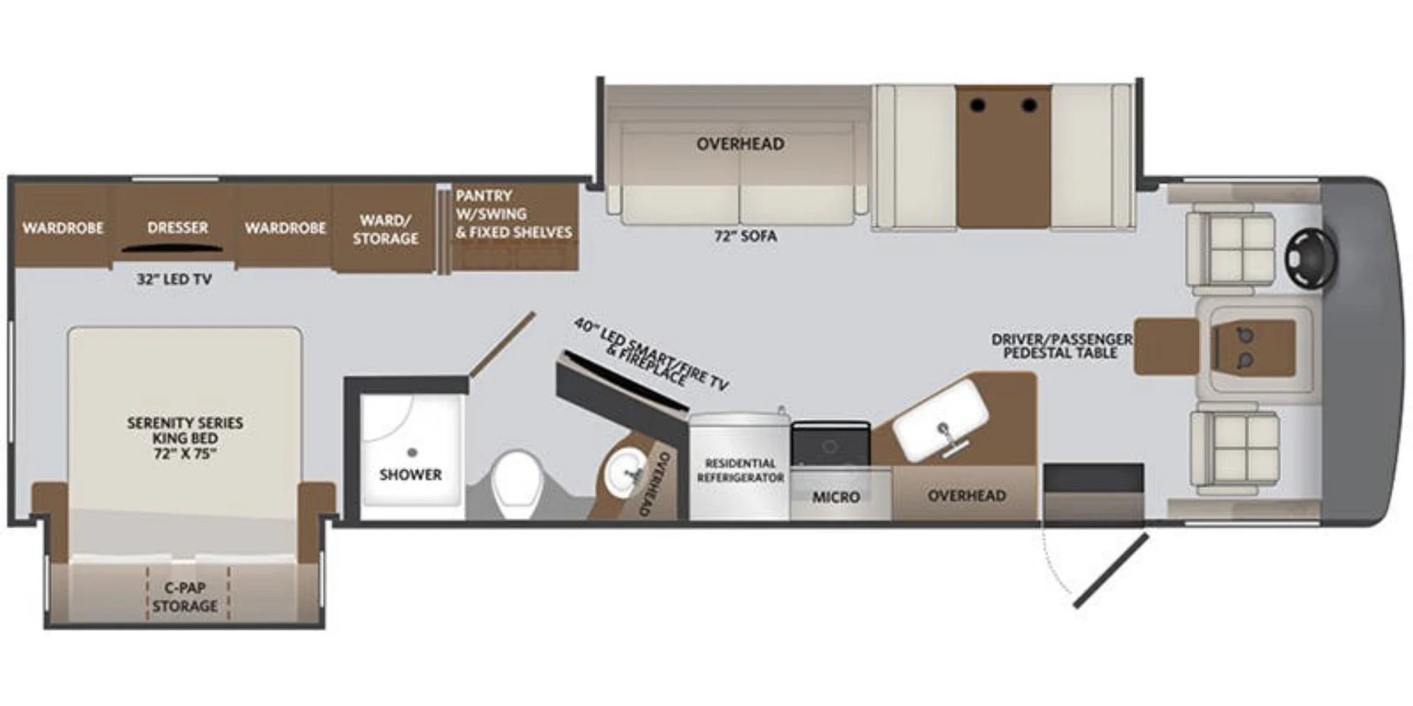 View Floor Plan for 2022 HOLIDAY RAMBLER INVICTA 34MB