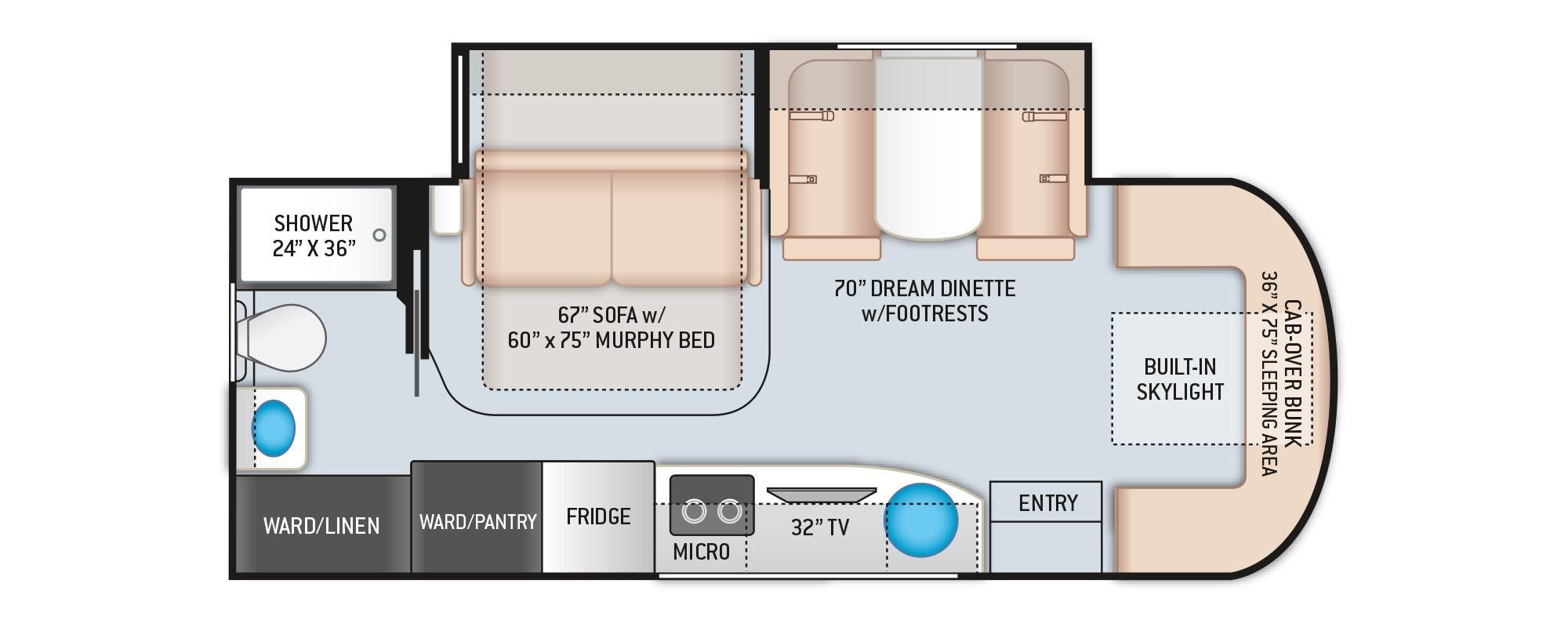 View Floor Plan for 2022 THOR DELANO 24FB