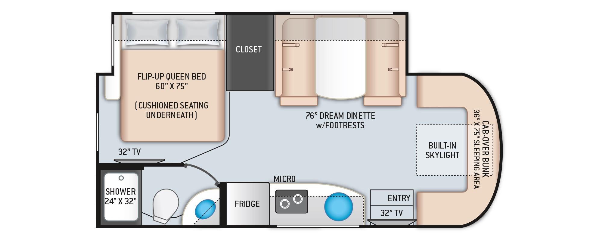 View Floor Plan for 2022 THOR DELANO 24TT