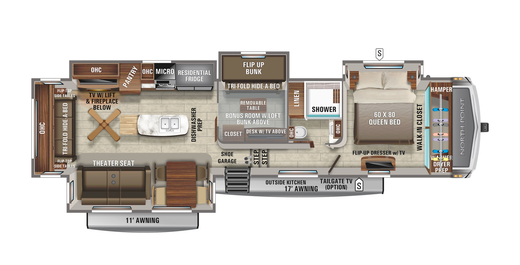 View Floor Plan for 2022 JAYCO NORTH POINT 377RLBH
