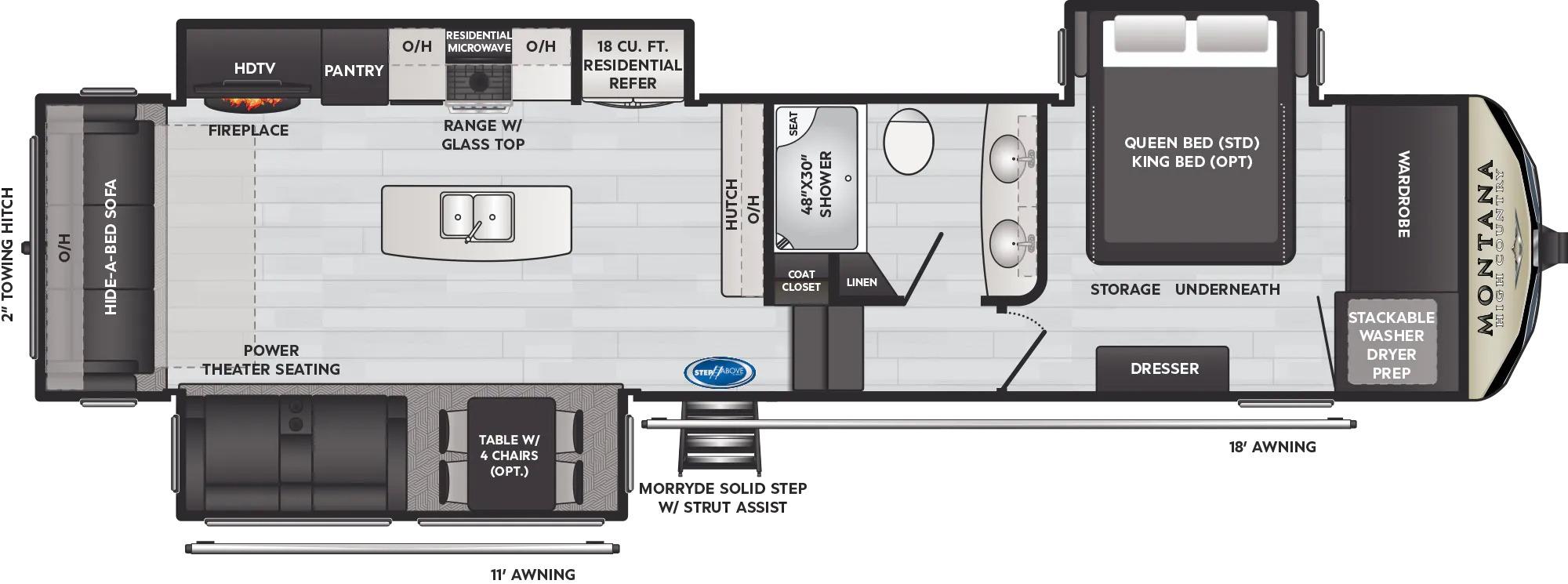 View Floor Plan for 2022 KEYSTONE MONTANA HIGH COUNTRY 331RL
