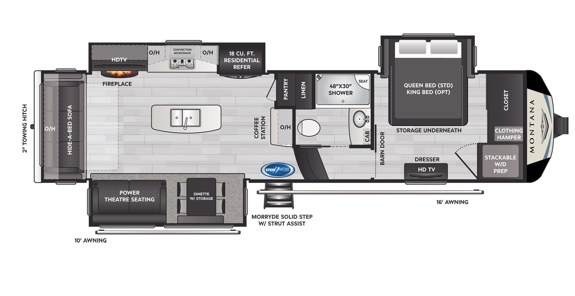 View Floor Plan for 2022 KEYSTONE MONTANA 3121RL