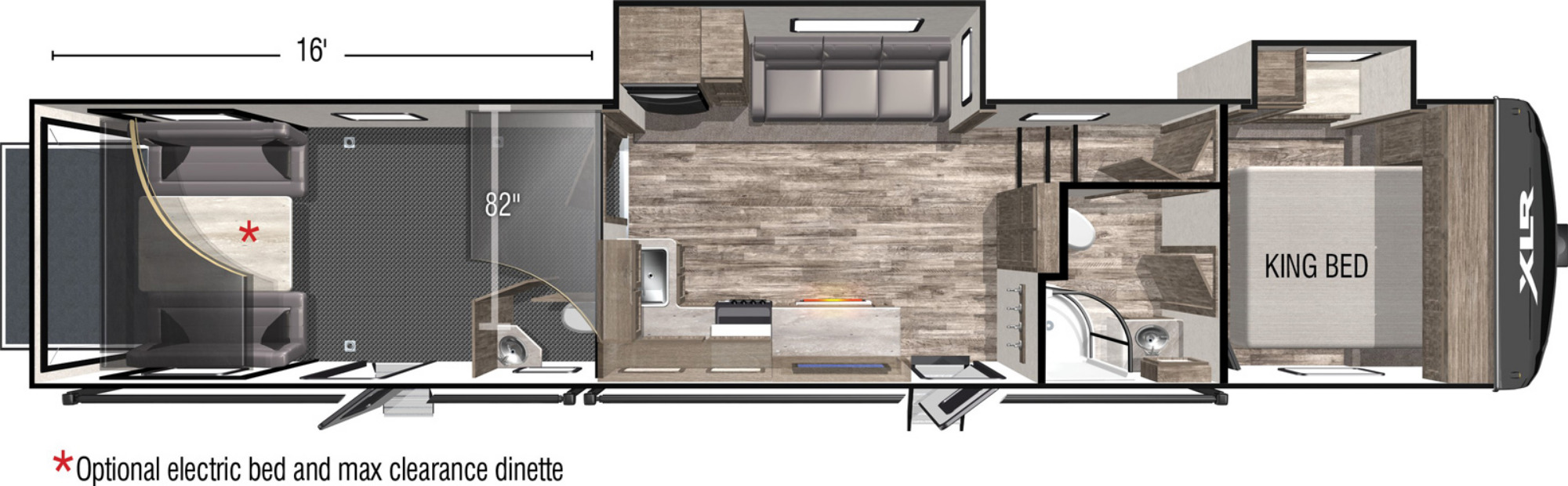 View Floor Plan for 2022 FOREST RIVER XLR BOOST 36TSX16