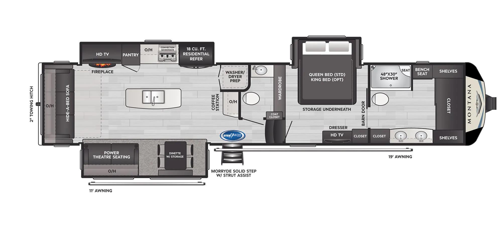 View Floor Plan for 2022 KEYSTONE MONTANA 3931FB