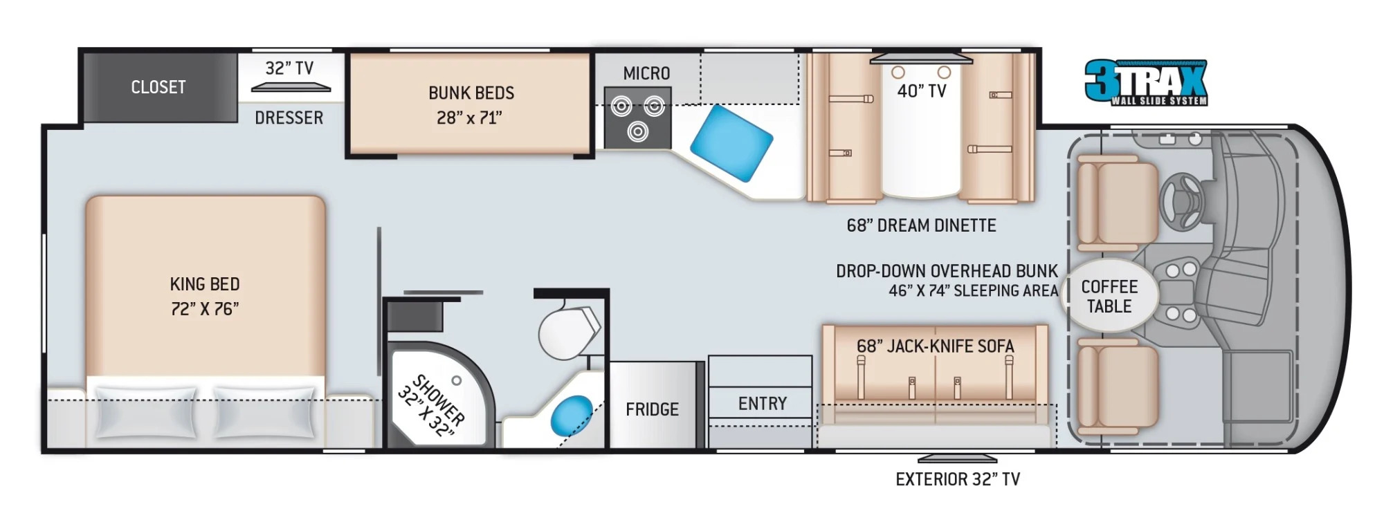 View Floor Plan for 2022 THOR ACE 32.3