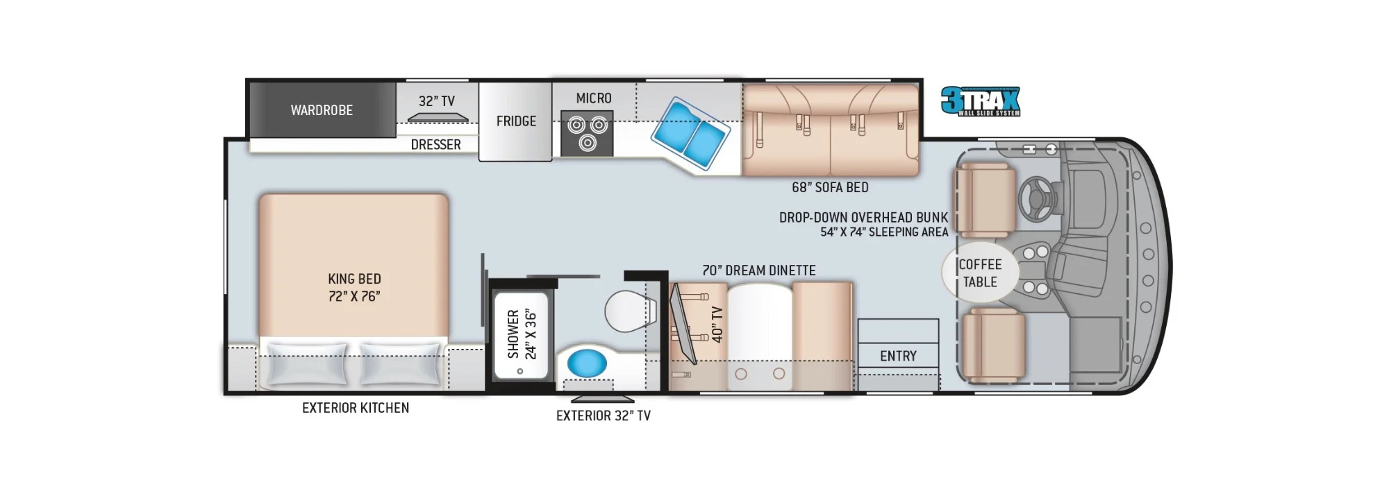 View Floor Plan for 2022 THOR HURRICANE 29M