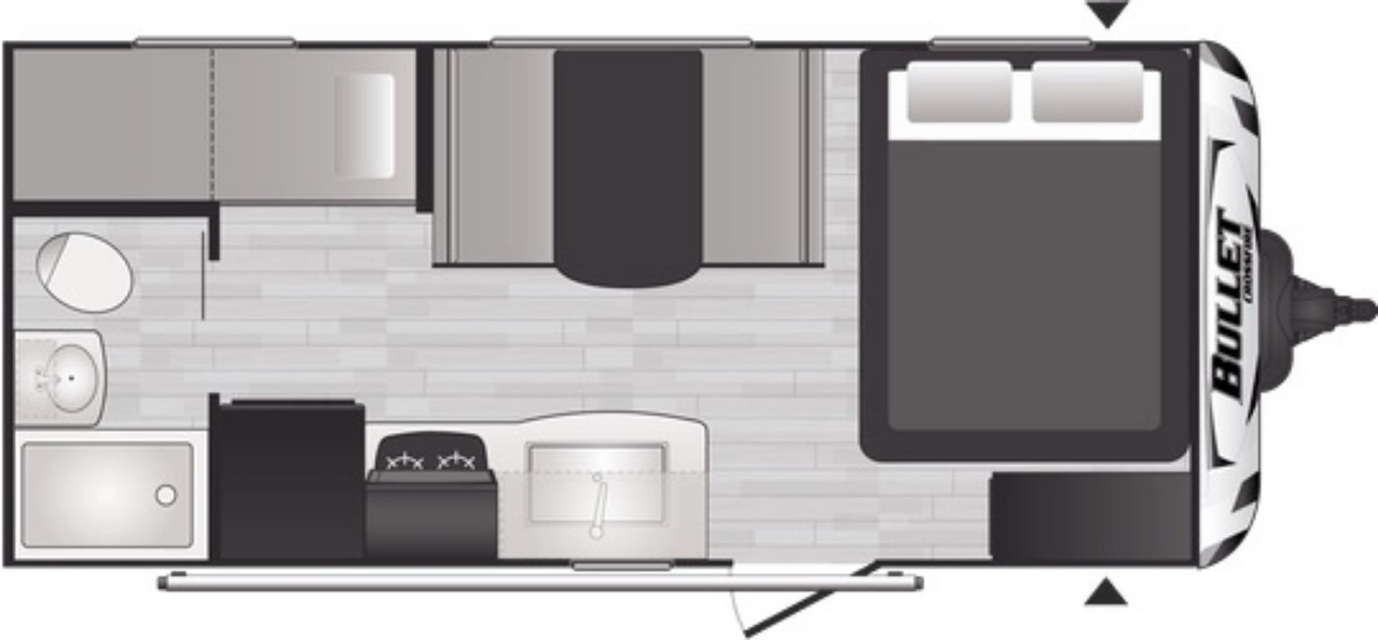 View Floor Plan for 2022 KEYSTONE BULLET CROSSFIRE 1700BH
