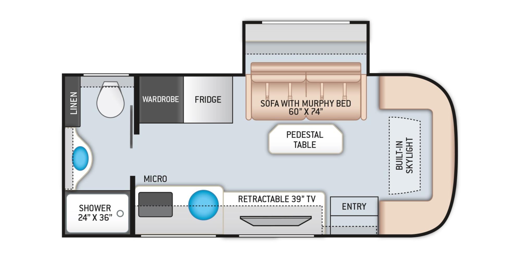 View Floor Plan for 2022 THOR GEMINI 23TE