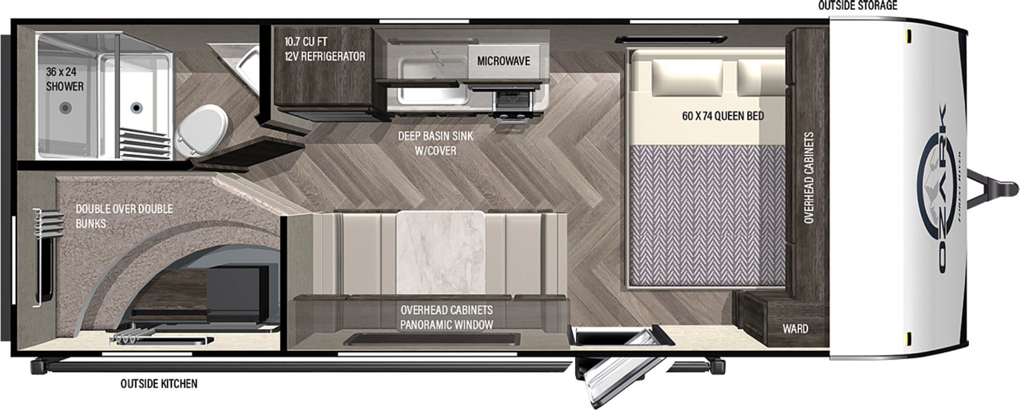 View Floor Plan for 2022 FOREST RIVER OZARK 1650BHKX
