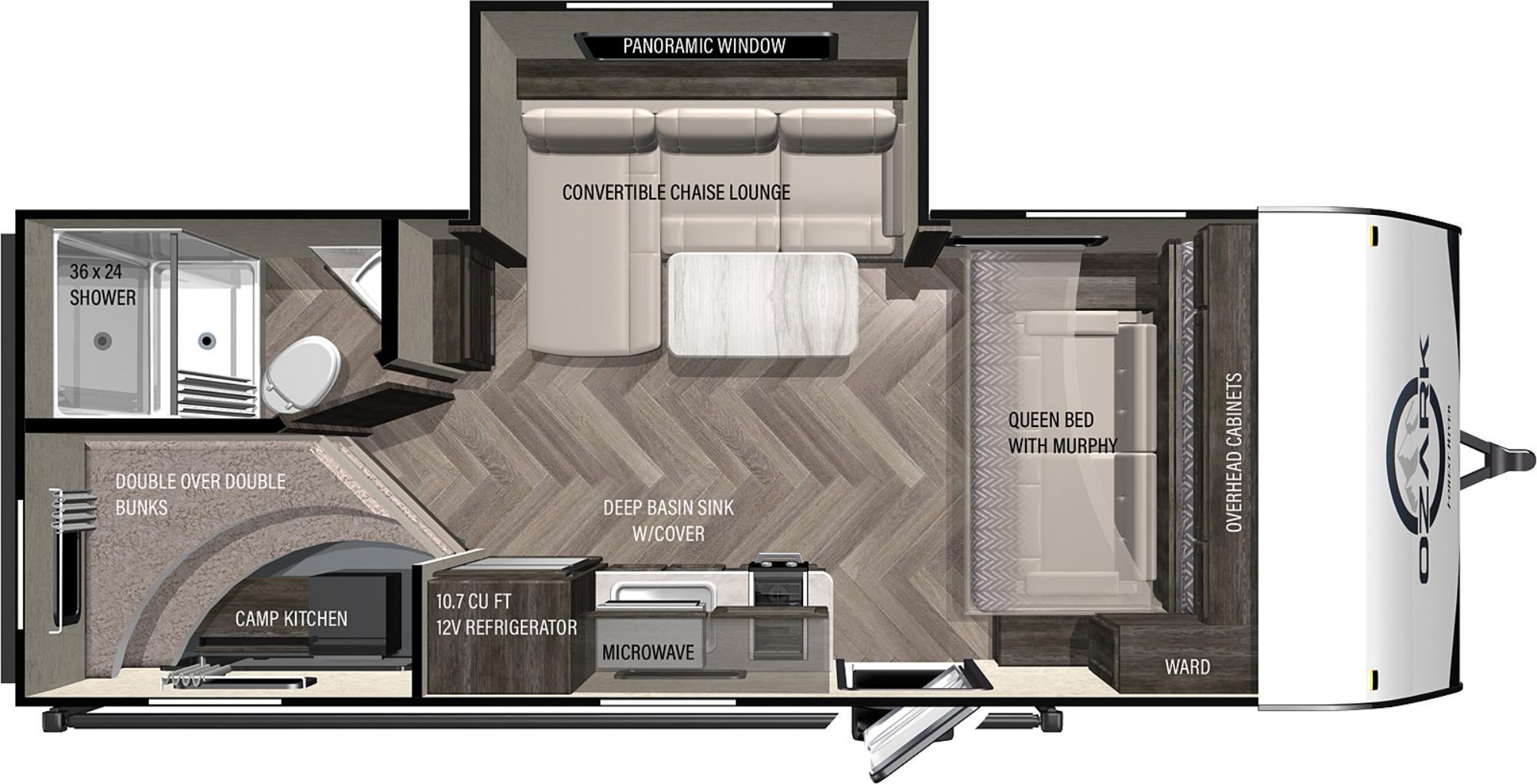 View Floor Plan for 2022 FOREST RIVER OZARK 1680BSK