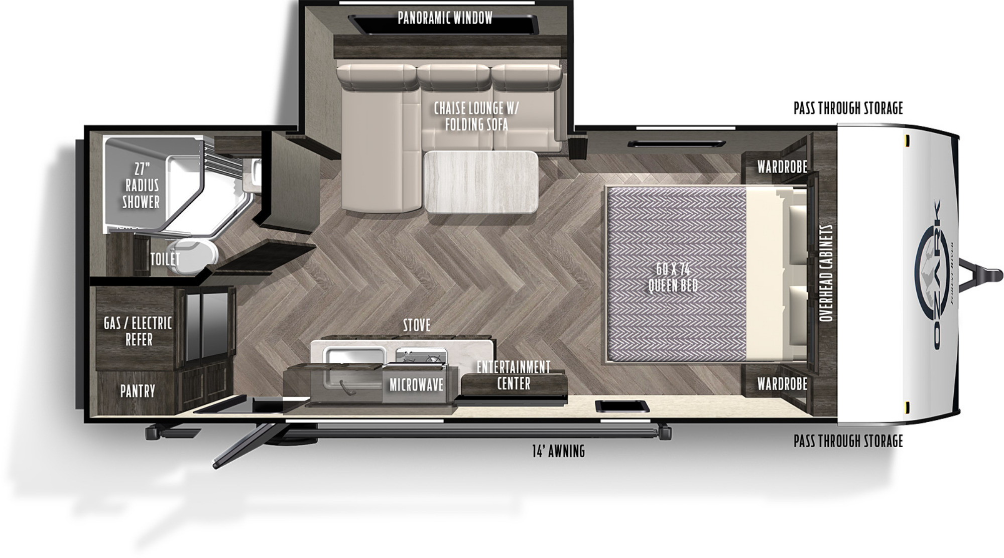 View Floor Plan for 2022 FOREST RIVER OZARK 1800QSX