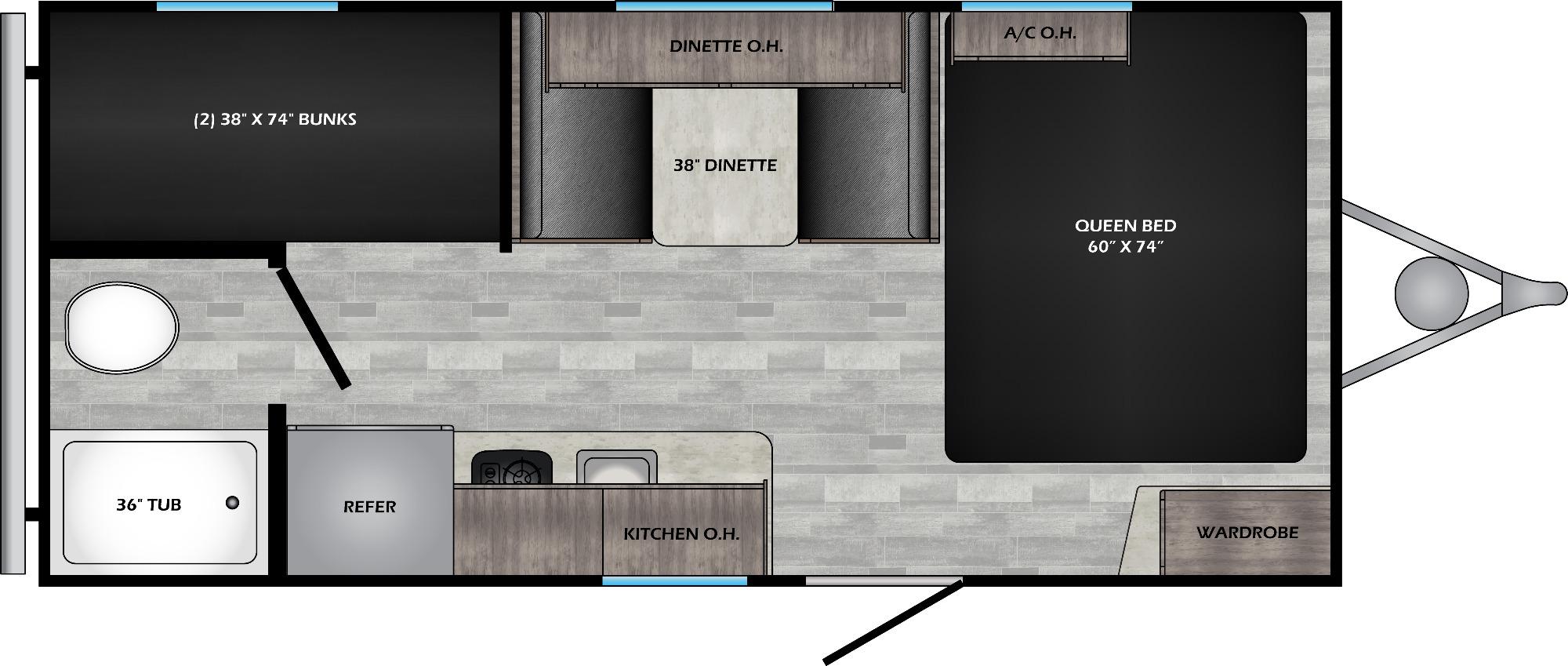 View Floor Plan for 2022 CROSSROADS ZINGER 18BH