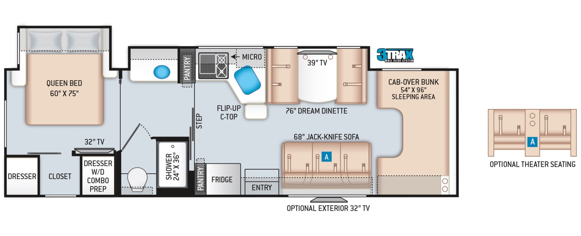 View Floor Plan for 2022 THOR FOUR WINDS 31B
