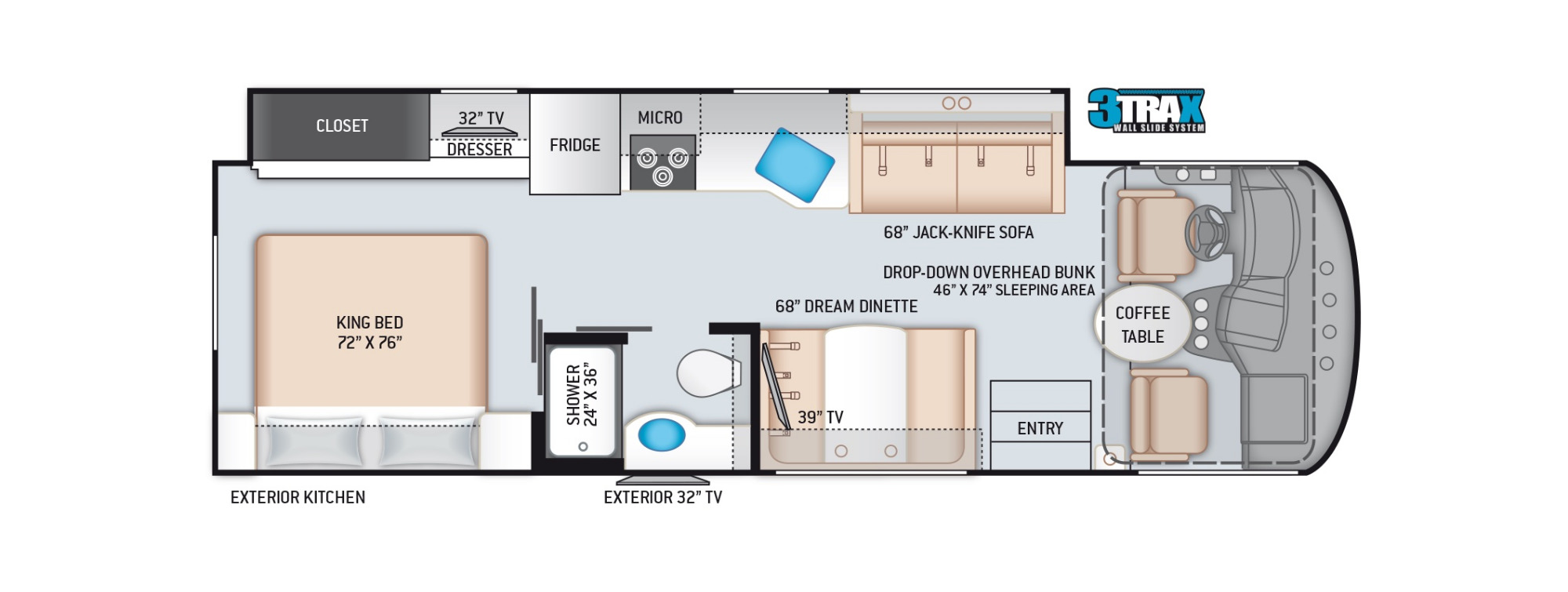 View Floor Plan for 2022 THOR FREEDOM TRAVELER A29