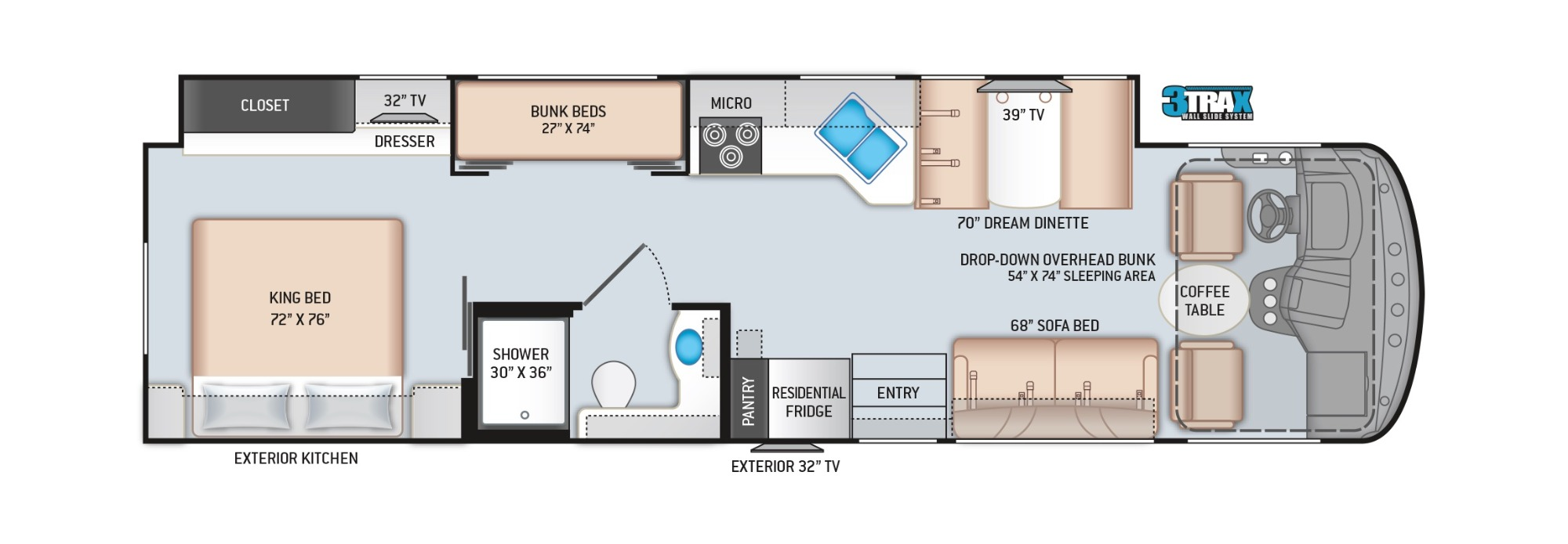 View Floor Plan for 2022 THOR HURRICANE 34J