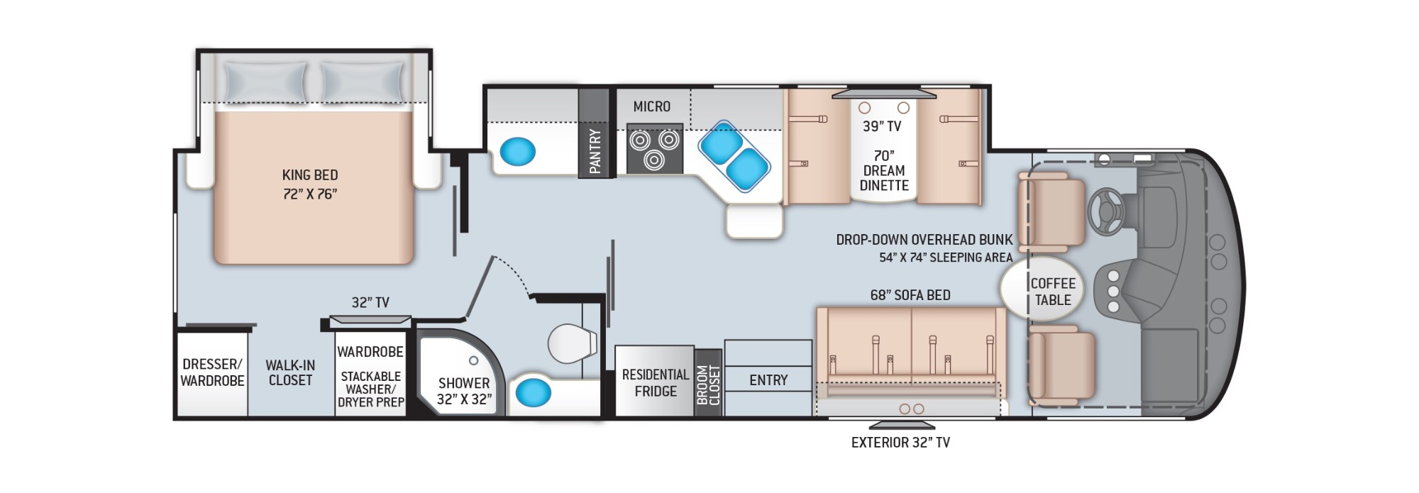 View Floor Plan for 2022 THOR HURRICANE 31C