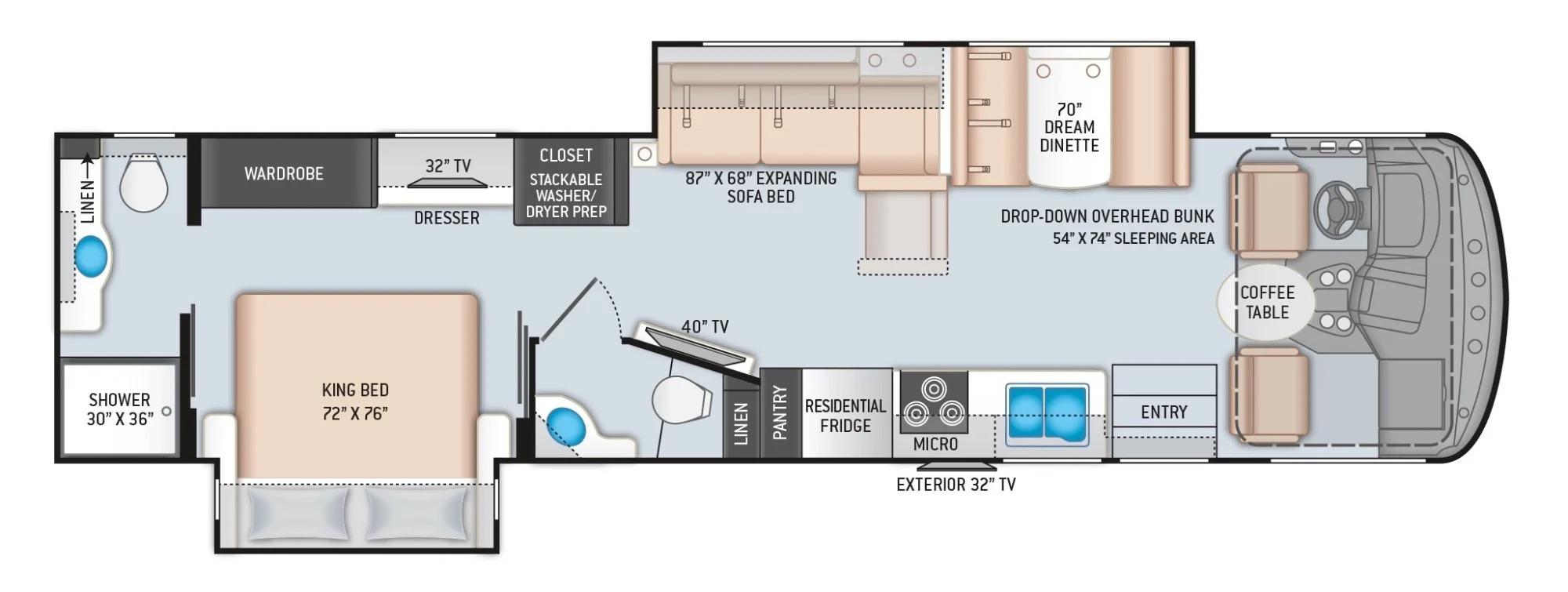 View Floor Plan for 2022 THOR HURRICANE 35M