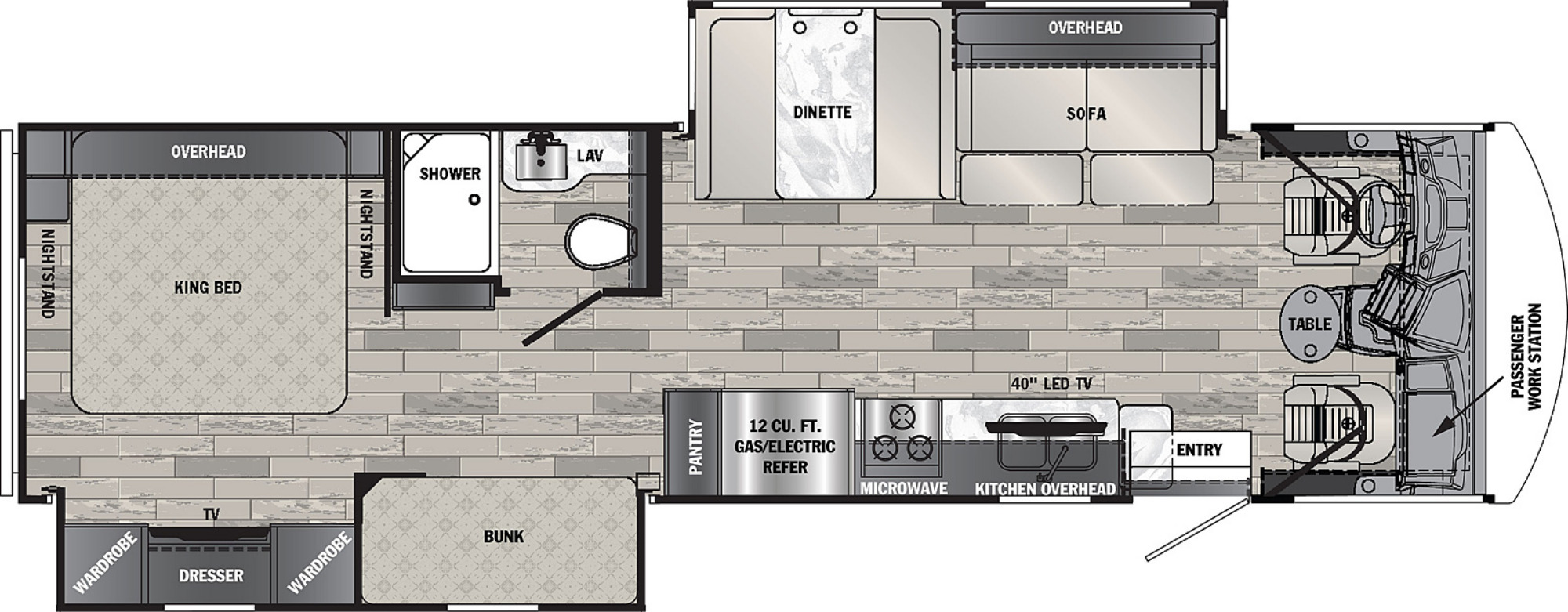 View Floor Plan for 2022 FOREST RIVER GEORGETOWN 3 SERIES 33B