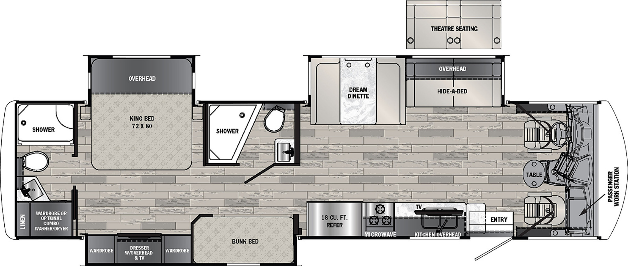 View Floor Plan for 2022 FOREST RIVER GEORGETOWN 5 SERIES 36B