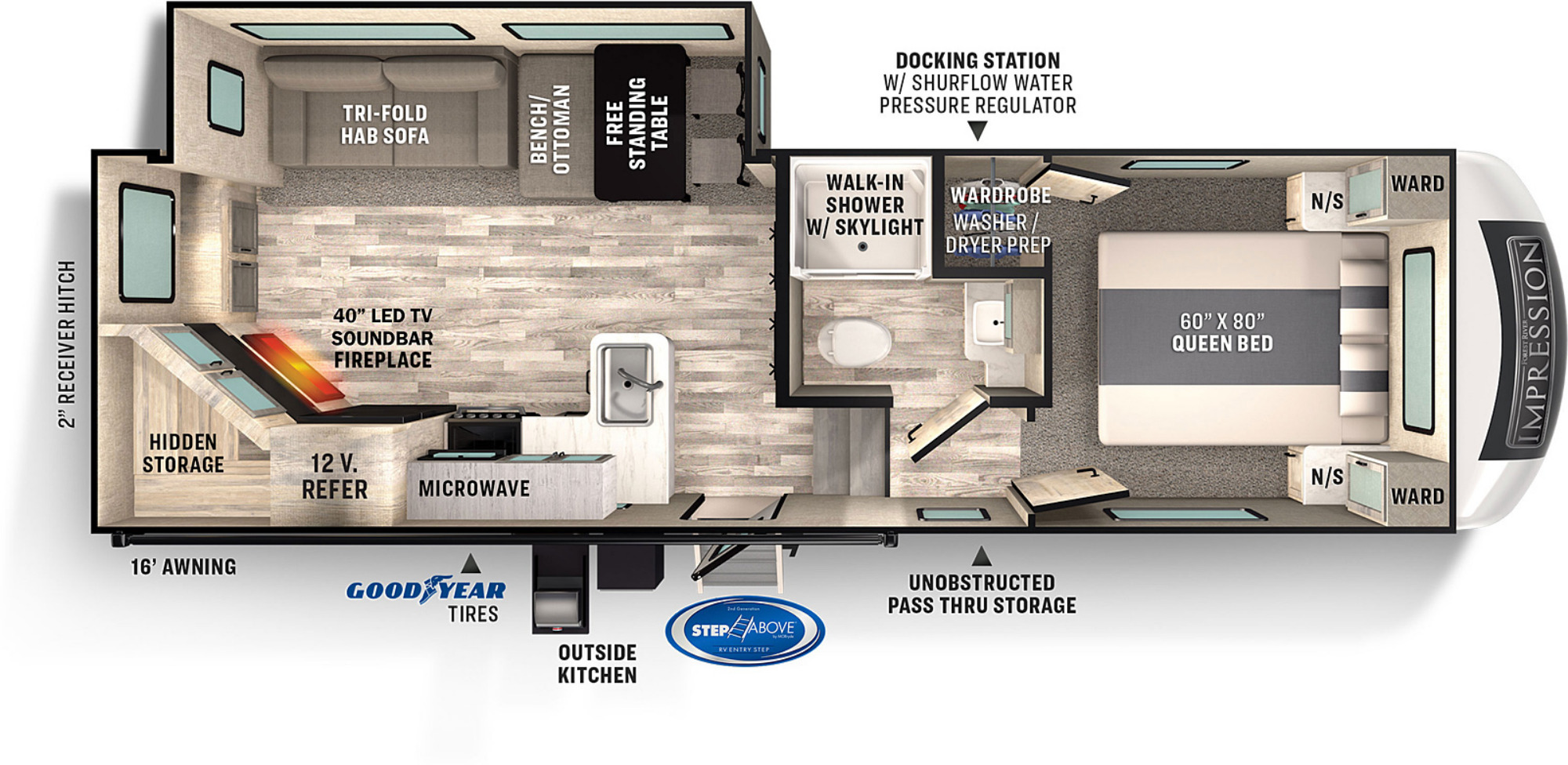 View Floor Plan for 2022 FOREST RIVER IMPRESSION 240RE