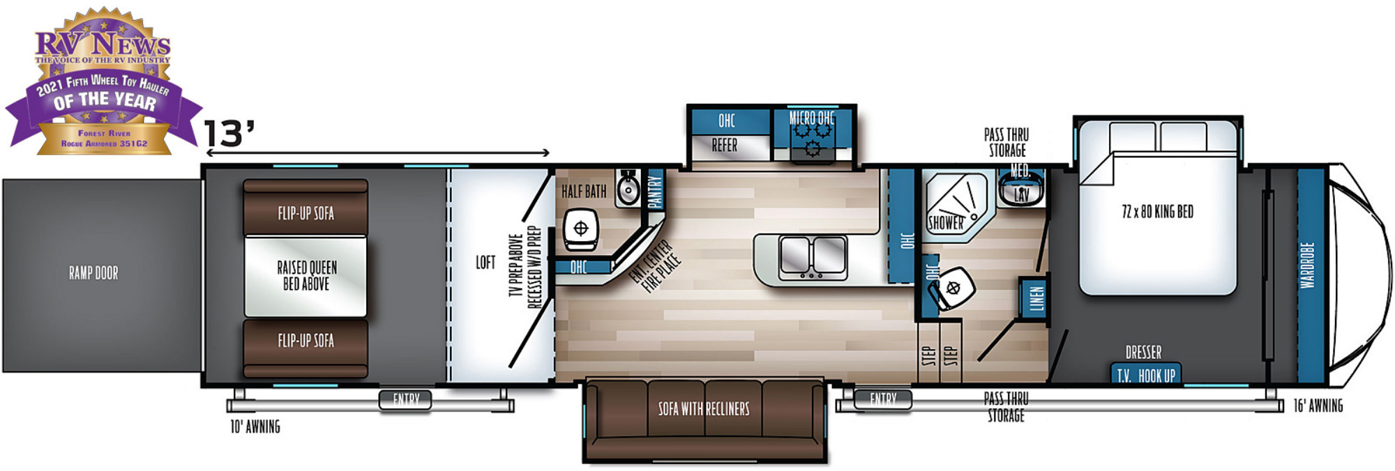 View Floor Plan for 2022 FOREST RIVER ROGUE ARMORED 351G2