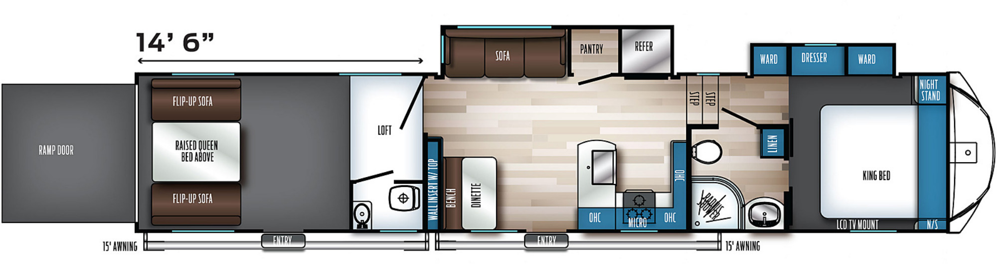 View Floor Plan for 2022 FOREST RIVER ROGUE ARMORED 4007G2
