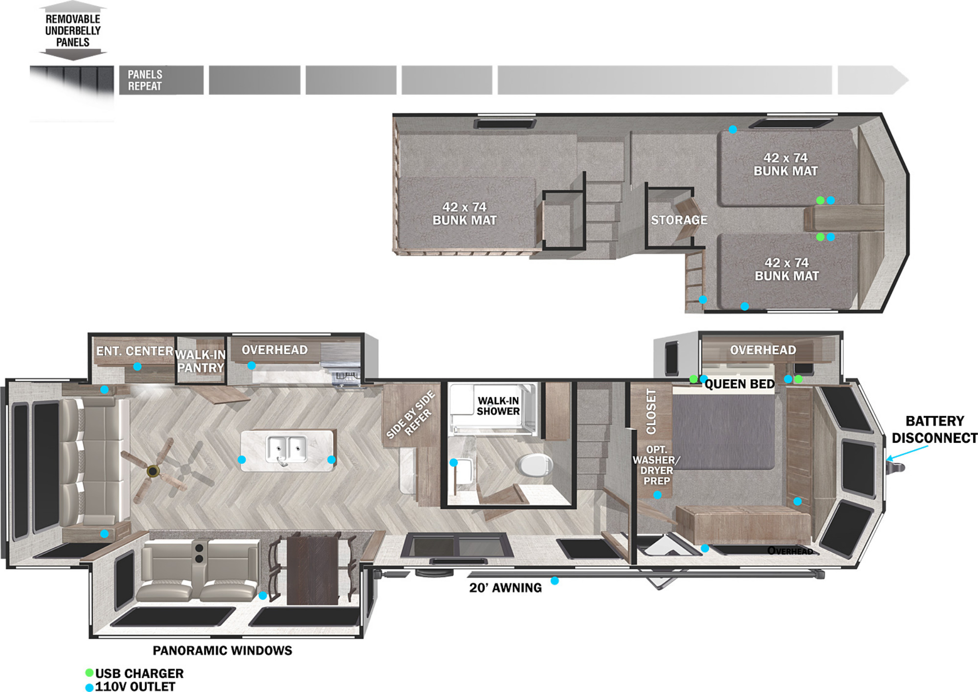 View Floor Plan for 2022 FOREST RIVER WILDWOOD GRAND LODGE 42DL