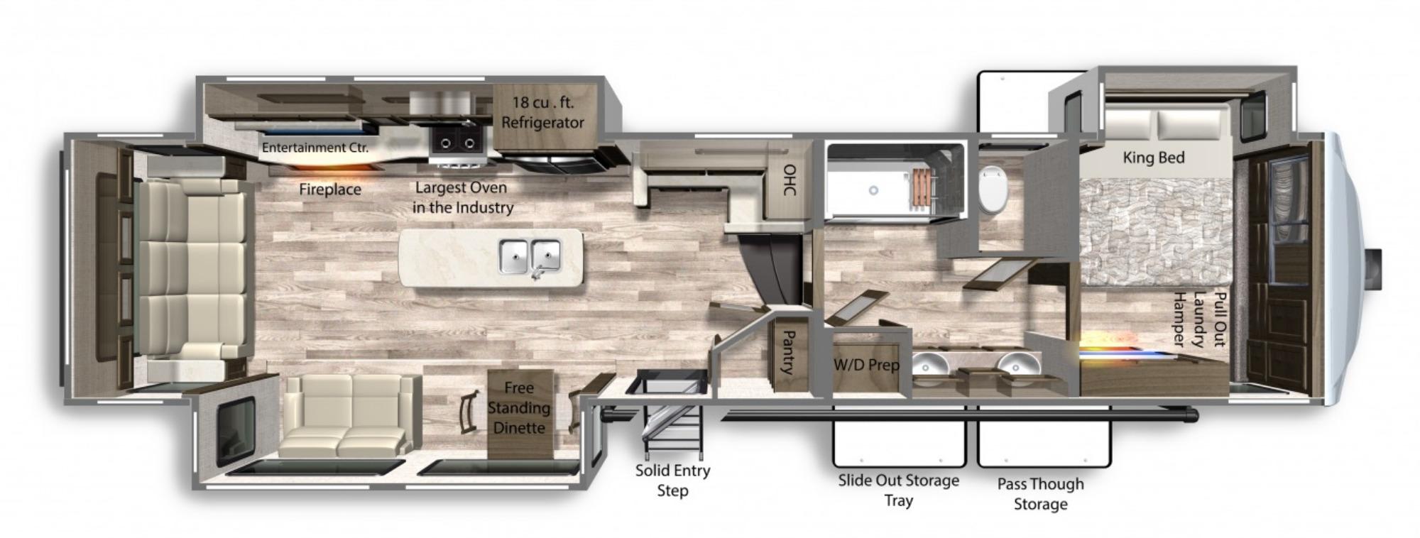 View Floor Plan for 2021 DUTCHMEN YUKON 400RL
