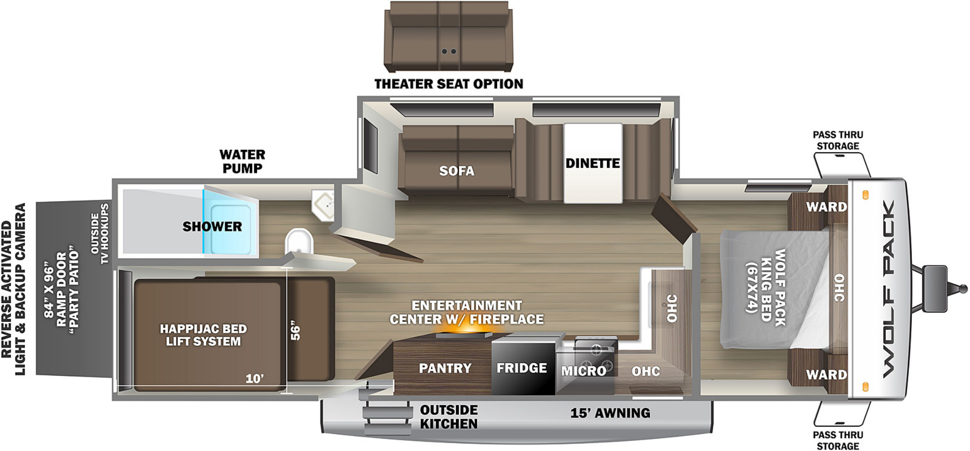 View Floor Plan for 2022 FOREST RIVER WOLF PACK 27PACK10