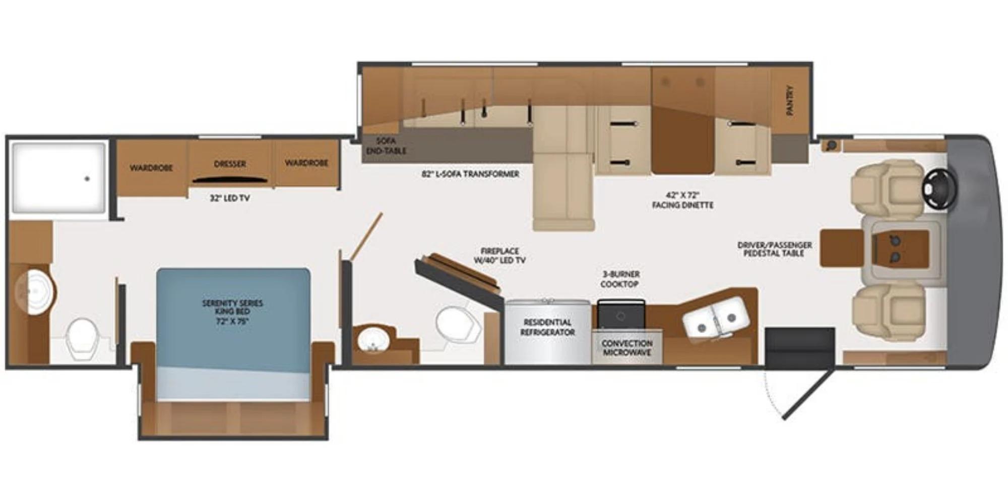 View Floor Plan for 2022 FLEETWOOD BOUNDER 35K