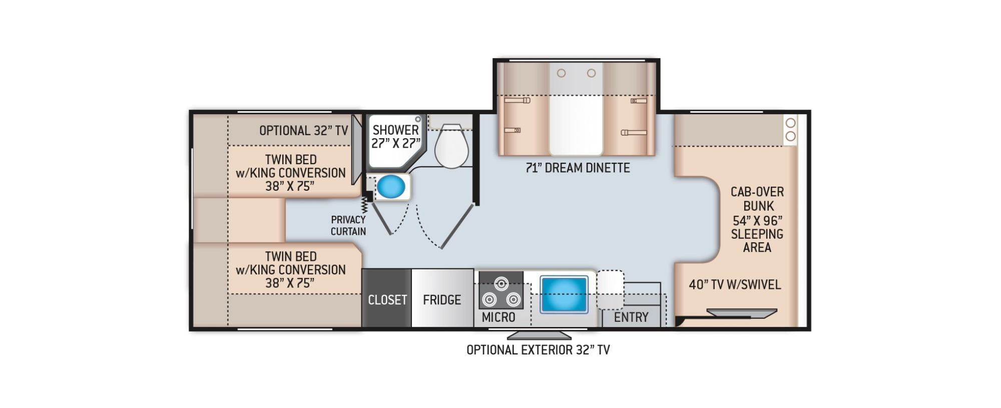View Floor Plan for 2022 THOR FOUR WINDS 25V