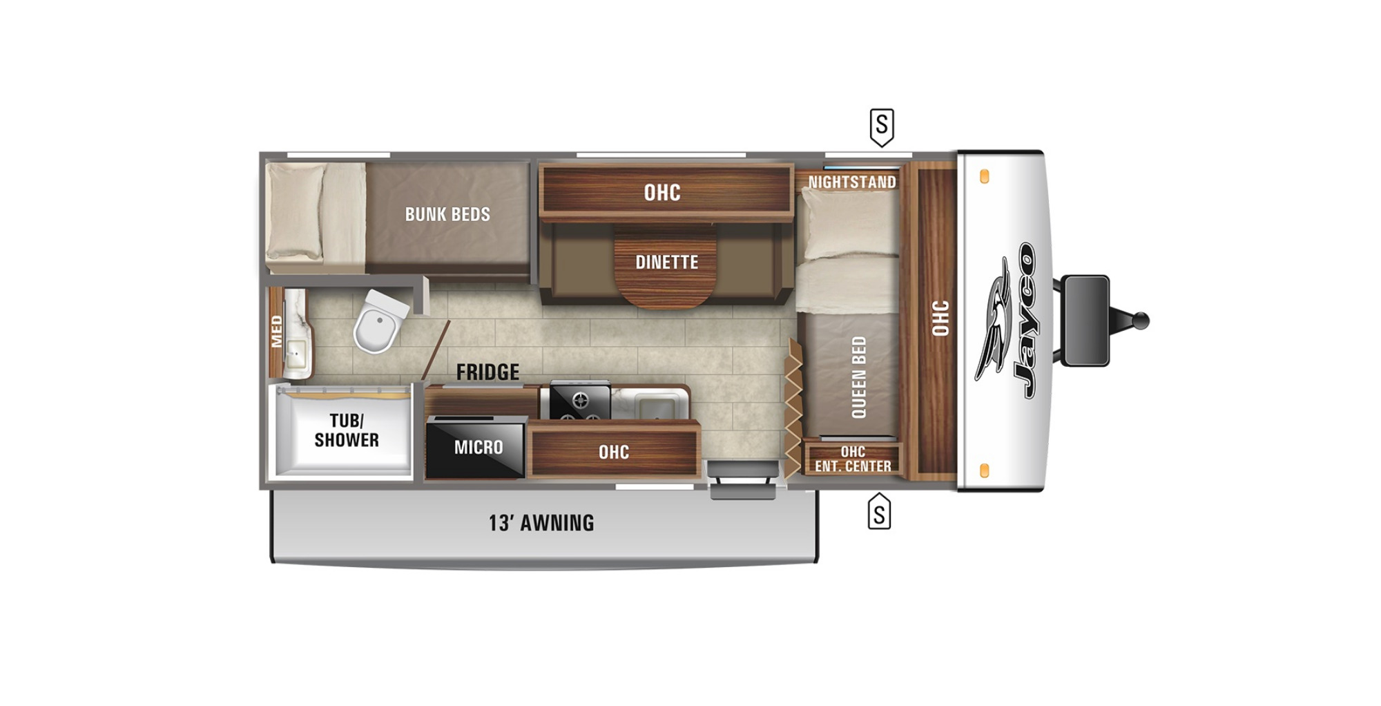 View Floor Plan for 2022 JAYCO JAY FEATHER MICRO 171BH