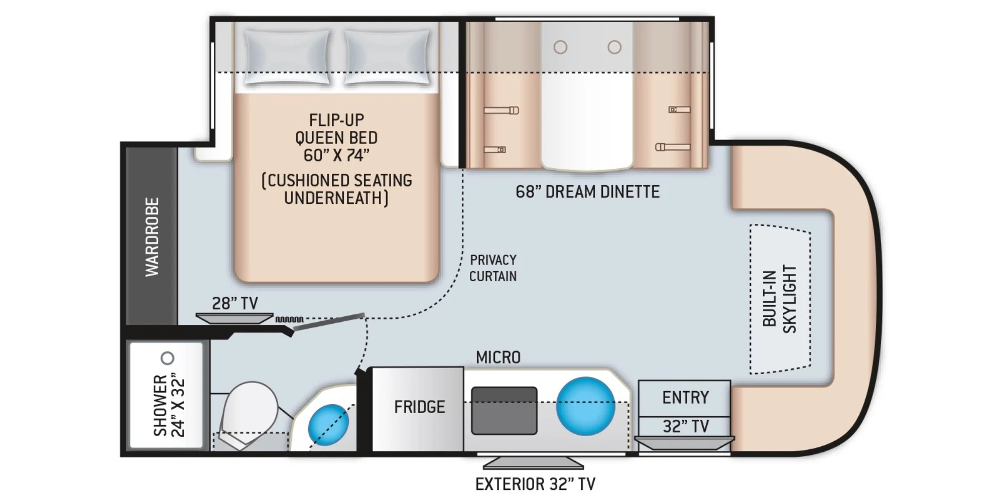 View Floor Plan for 2022 THOR COMPASS 23TW