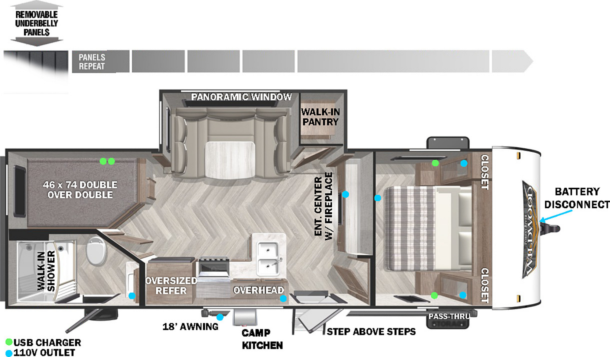 View Floor Plan for 2022 FOREST RIVER WILDWOOD X-LITE 240BHXL