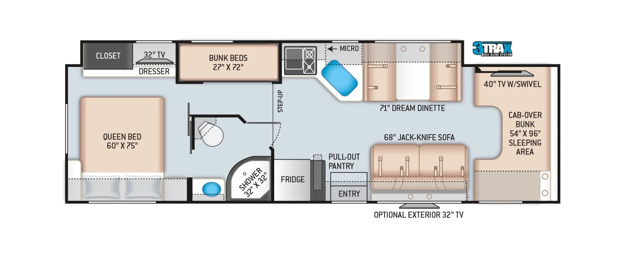 View Floor Plan for 2022 THOR FOUR WINDS 31E