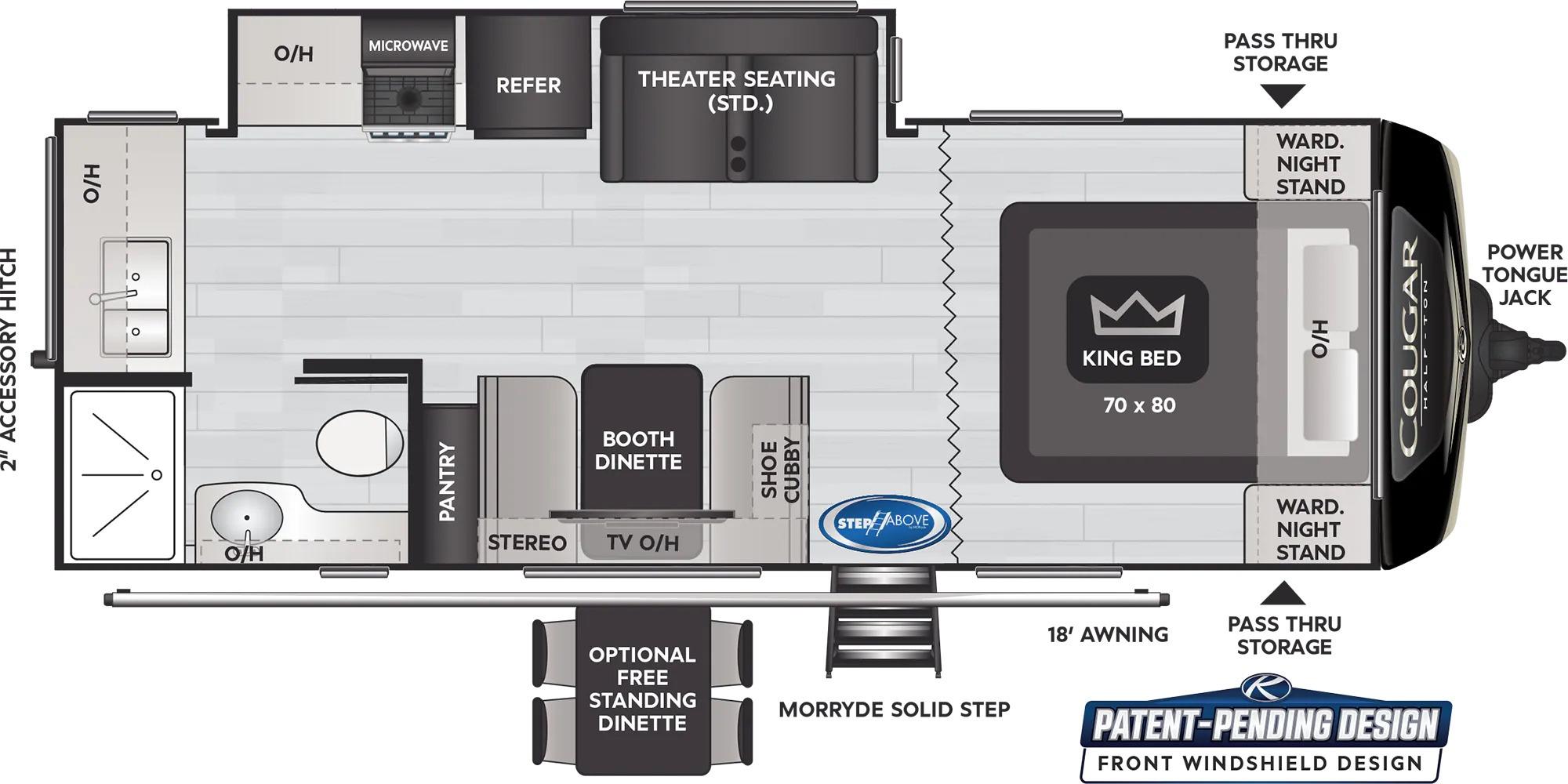 View Floor Plan for 2022 KEYSTONE COUGAR 22MLSWE