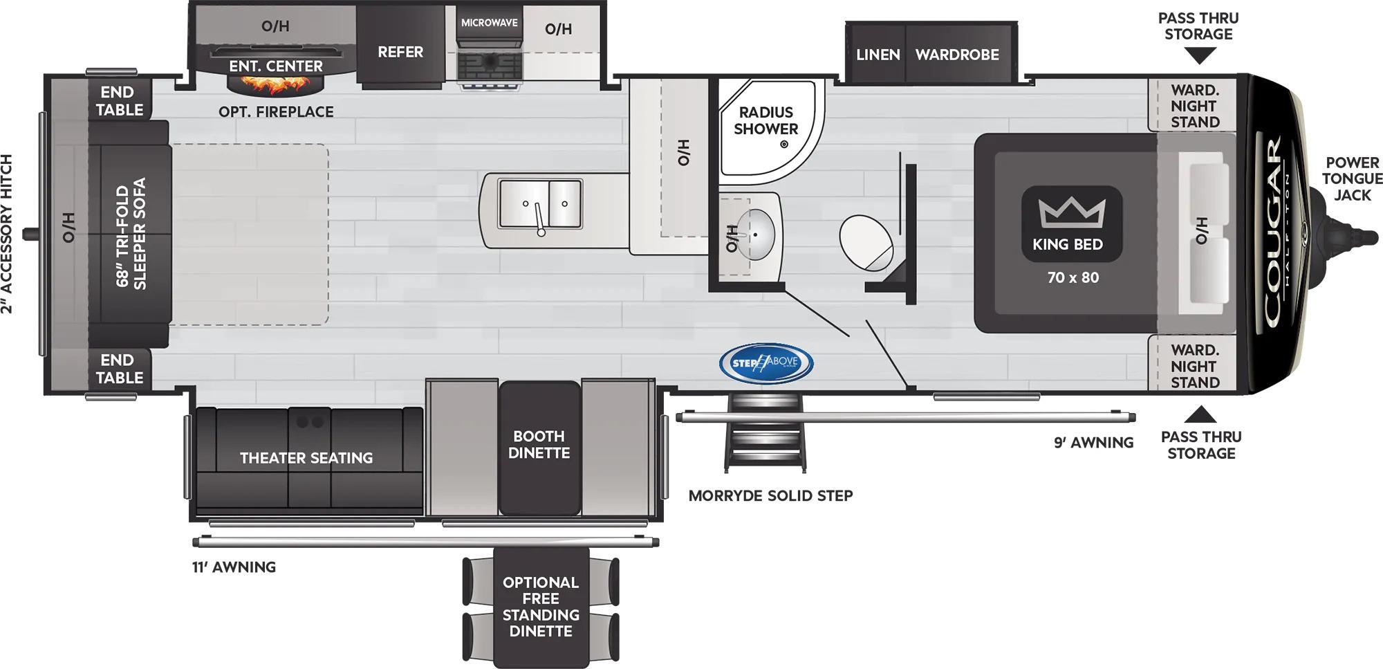 View Floor Plan for 2022 KEYSTONE COUGAR 29RLSWE
