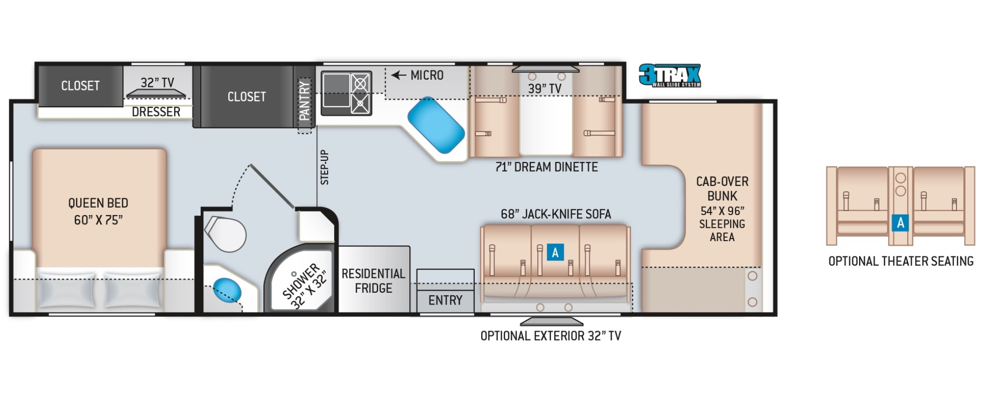 View Floor Plan for 2022 THOR FOUR WINDS 31W