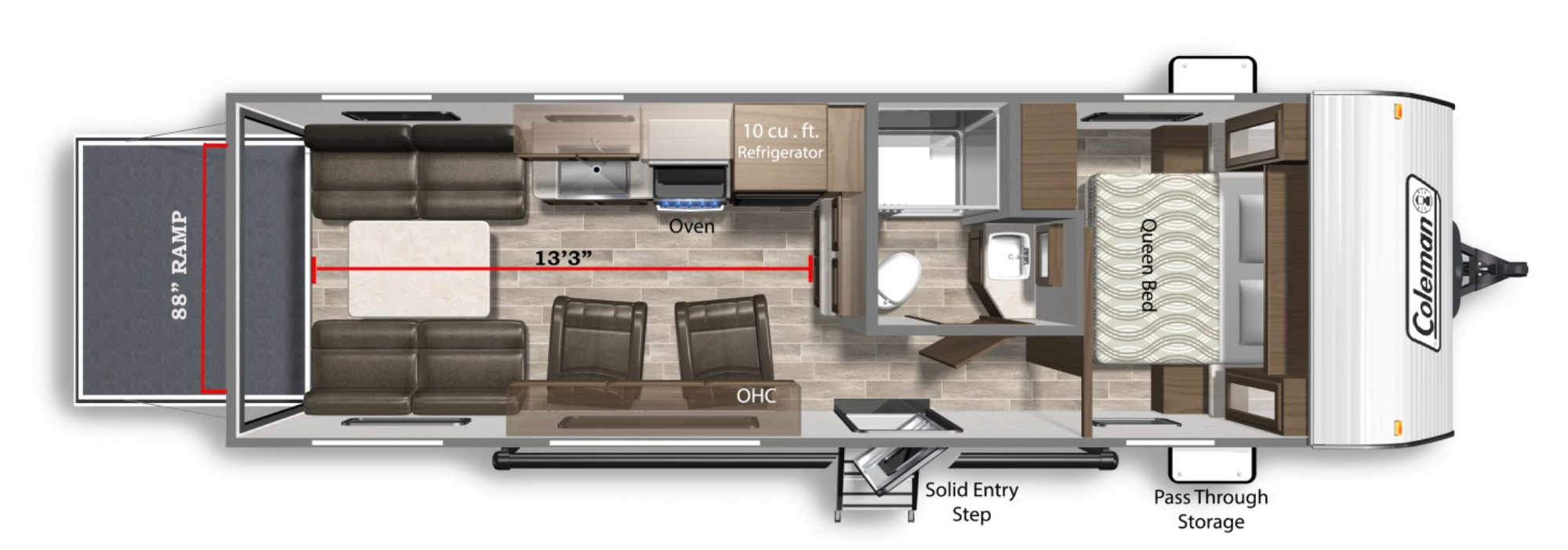 View Floor Plan for 2022 COLEMAN COLEMAN LANTERN 251TQ