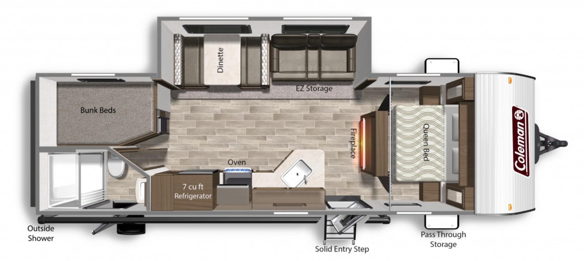 View Floor Plan for 2022 COLEMAN COLEMAN LANTERN 263BHWE
