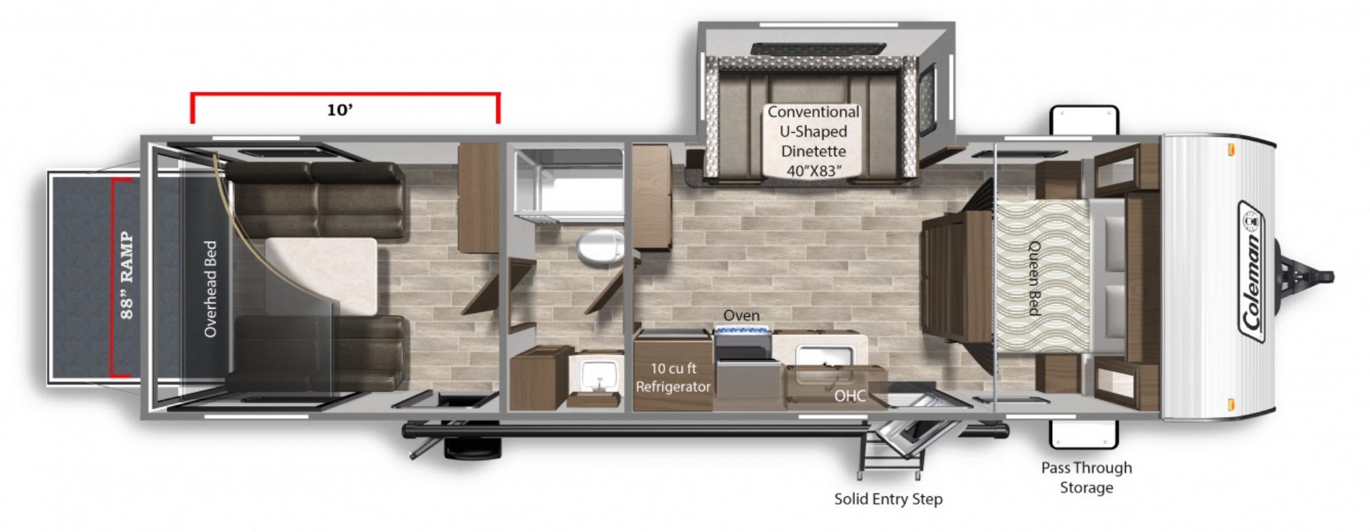 View Floor Plan for 2022 COLEMAN COLEMAN LANTERN 300TQ